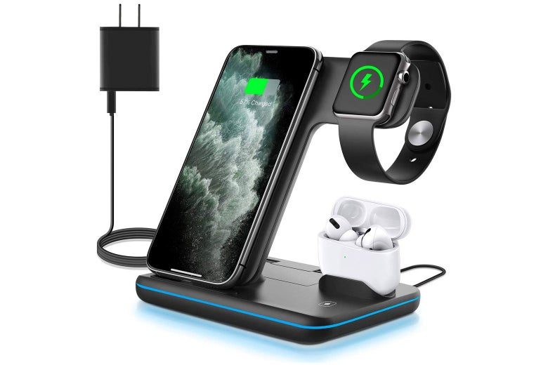 Charging stand with iPhone, Apple Watch, and AirPods docked in it