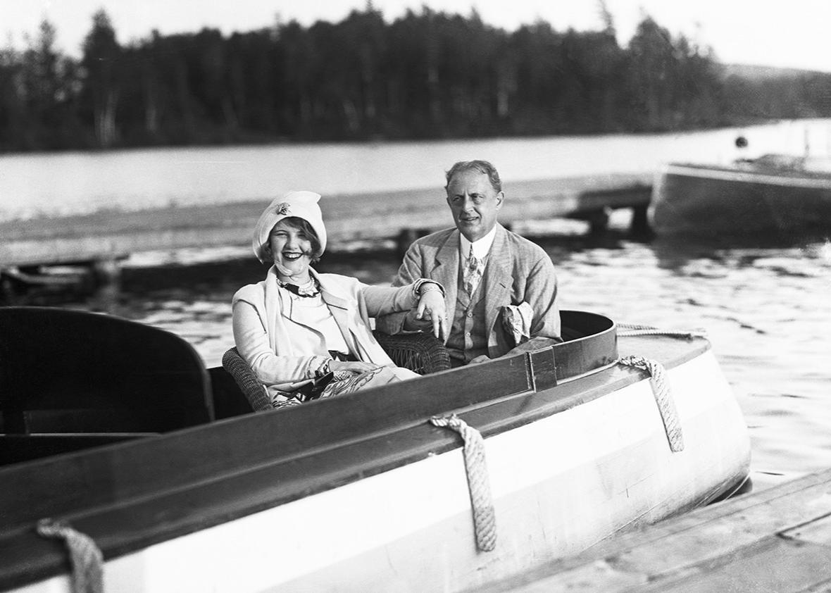 Photo shows Edward W. Browning wealthy Manhattan realtor as he appeared with his wife, Peaches, seated in their motor launch.