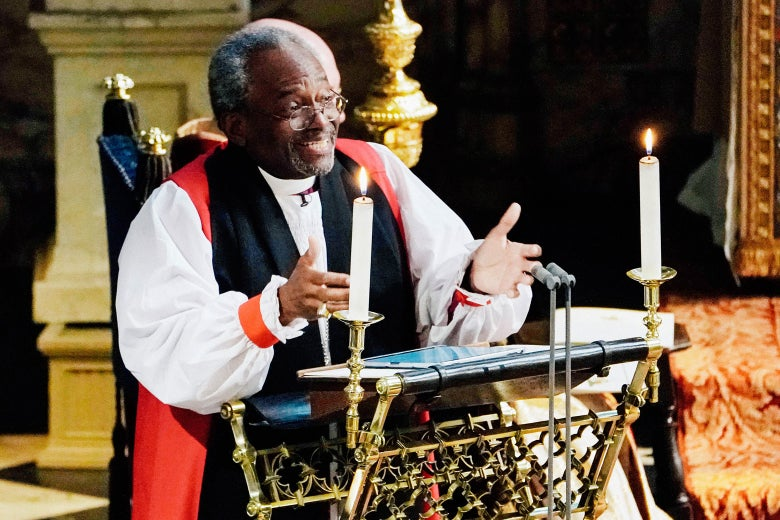 Bishop Michael Curry delivers his sermon at the royal wedding.
