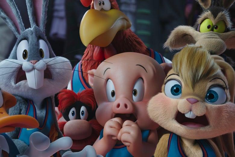 the members of the looney toons look surprised