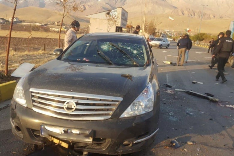 A view shows the scene of the attack that killed Prominent Iranian scientist Mohsen Fakhrizadeh, outside Tehran, Iran on November 27, 2020.