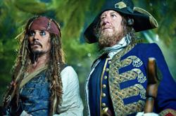 """Johnny Depp stars as Captain Jack Sparrow along side his nemesis Geoffrey Rush as Captain Barbossa in """"Pirates of the Caribbean."""" Click image to expand."""