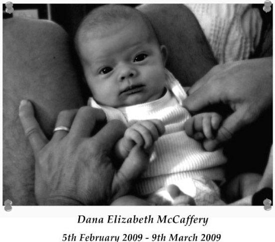 Dana McCaffery, an infant who died of pertussis in 2009