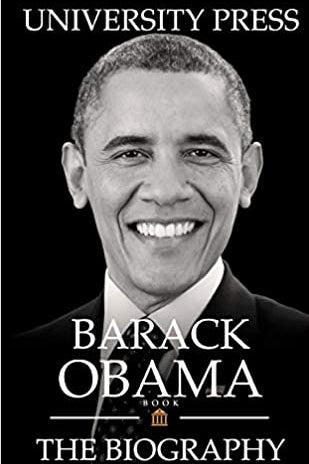 The cover of a book with Obama's face