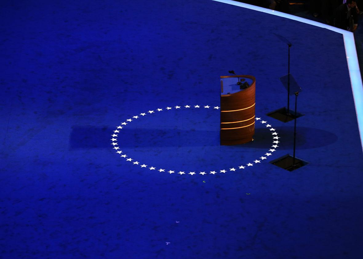 The podium stands empty on stage during preparations for the Democratic National Convention