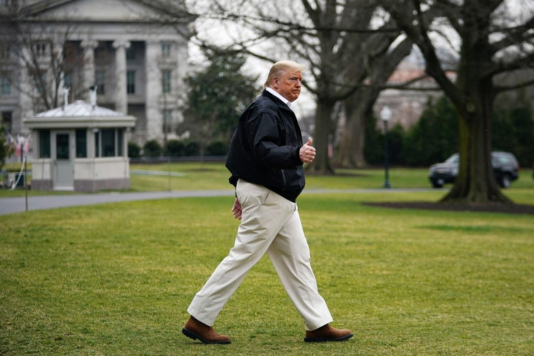 Trump makes a thumbs-up as he walks across the South Lawn