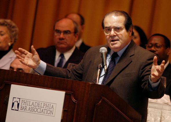 Plaintiff Antonin Scalia addresses the Philadelphia Bar Association during a luncheon on April 29, 2004