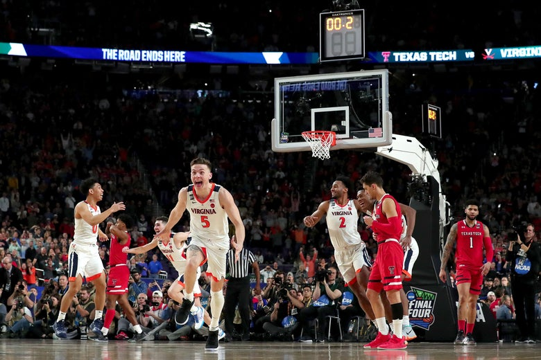 MINNEAPOLIS, MINNESOTA - APRIL 08:  Kyle Guy #5 of the Virginia Cavaliers celebrates his teams 85-77 win over the Texas Tech Red Raiders to win the the 2019 NCAA men's Final Four National Championship game at U.S. Bank Stadium on April 08, 2019 in Minneapolis, Minnesota. (Photo by Streeter Lecka/Getty Images)