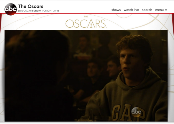 At least twice in the course of the Oscars, ABC accidentally switched online viewers to The Social Network and other unrelated programming.