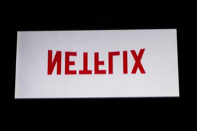An upside down Netflix logo .