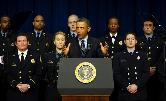 President Barack Obama delivers remarks on the sequestration- joined by emergency responders.