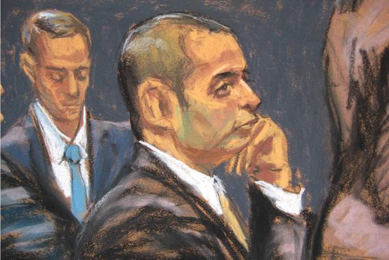 "Former New York City police officer Gilberto Valle, dubbed by local media the ""Cannibal Cop,"" appears in this courtroom sketch during opening arguments of his federal trial in New York, Feb. 25, 2013."
