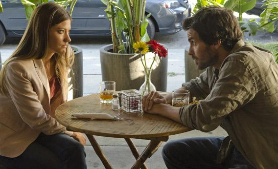 Jennifer Carpenter as Debra Morgan and Santiago Cabrera as Sal Price.