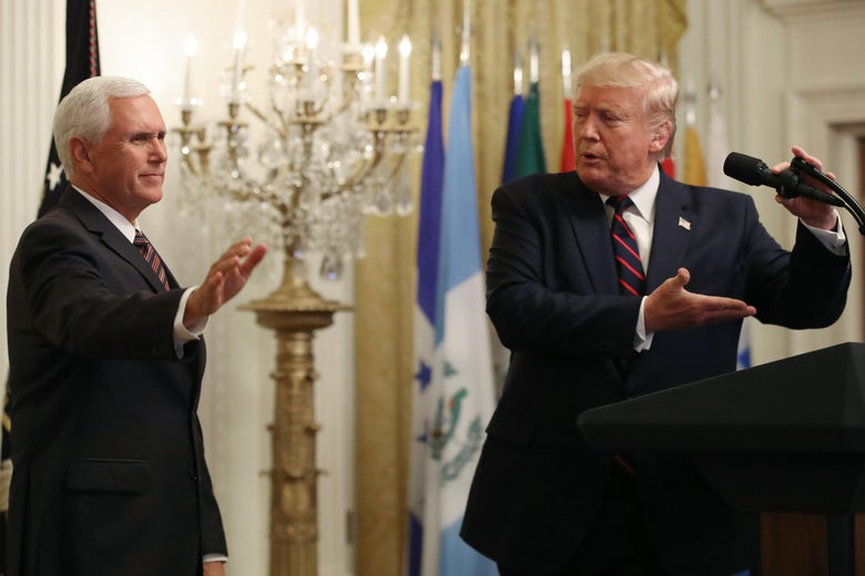 President Donald Trump invites Vice President Mike Pence to speak during a reception to honor Hispanic Heritage Month, in The East Room at the White House on September 27, 2019 in Washington, D.C.