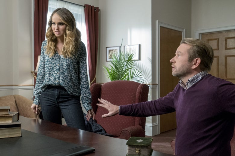 Debby Ryan and Dallas Roberts in Insatiable.