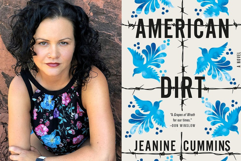 A headshot of Jeanine Cummins next to the cover of American Dirt.