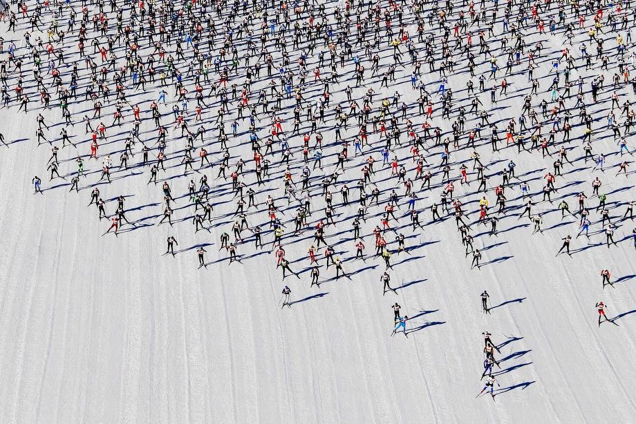 Cross-country skiers start during the Engadin Ski Marathon on the frozen Lake Sils near the village of Maloja on March 10, 2013. More than 12,000 skiers participated in the 26.2-mile race between Maloja and S-chanf near the Swiss mountain resort of St. Moritz.