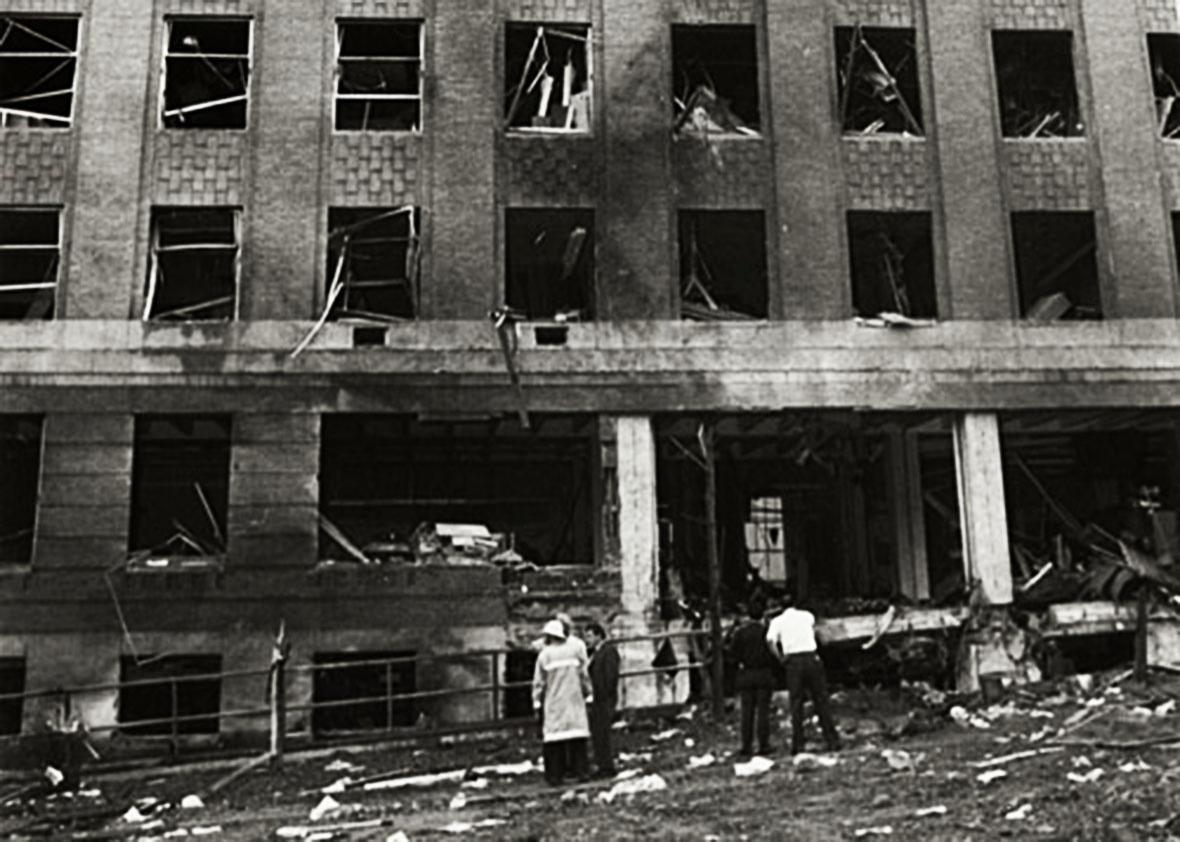 Photograph taken after the 1970 explosion targeting the Army Mathematics Research Center (AMRC) at the University of Wisconsin-Madison campus.