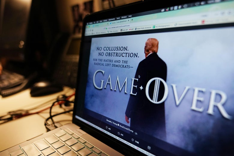 A Game of Thrones–style meme on a computer screen