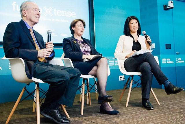 Dan Gillmor, Sen. Amy Klobuchar, and Cecilia Kang.