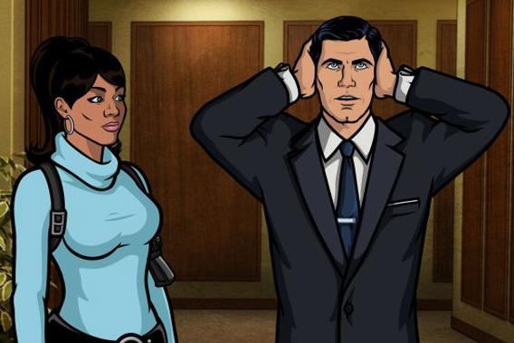 Lana Kane (voice of Aisha Tyler) and Sterling Archer (voice of H. Jon Benjamin).