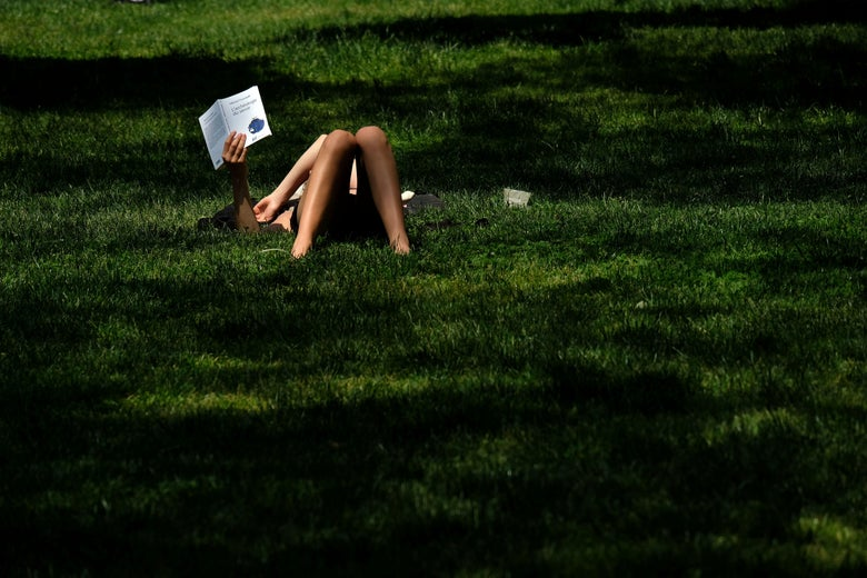 A woman reads a book laying on the grass in Central Park during a warm sunny day in New York on May 25, 2016.