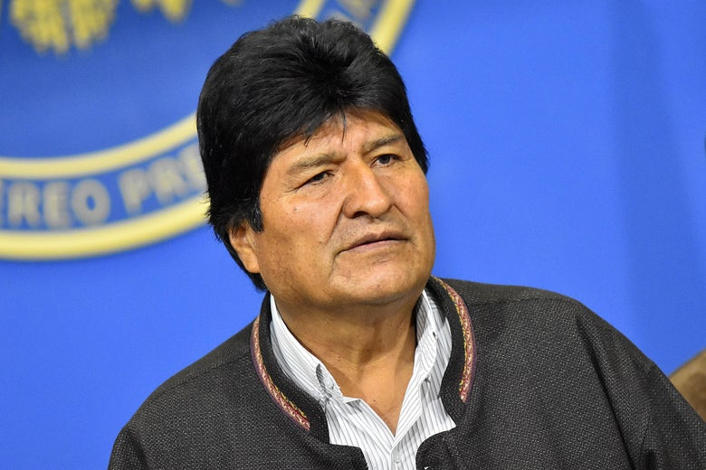 President of Bolivia Evo Morales Ayma talks during a press conference on November 10, 2019 in La Paz, Bolivia.