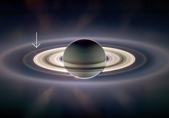 2006 picture of Earth and Saturn from Cassini