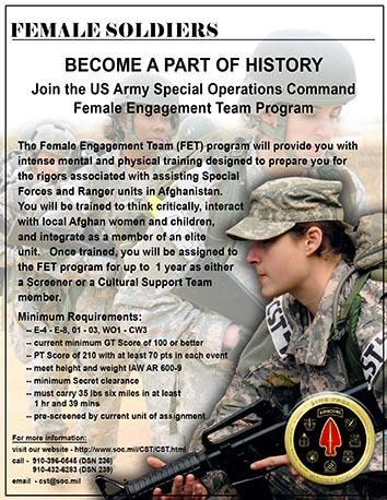 2011 Recruiting poster for the Cultural Support Teams.