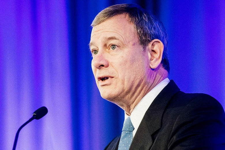 US Supreme Court Chief Justice John Roberts speaks before presenting US Supreme Court Justice Ruth Bader Ginsburg the American Law Institute's Henry J. Friendly Medal in Washington, DC, on May 14, 2018.