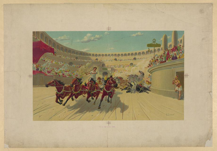 Chromolithograph depicting the chariot race in Lew Wallce's Ben-Hur, circa 1890.