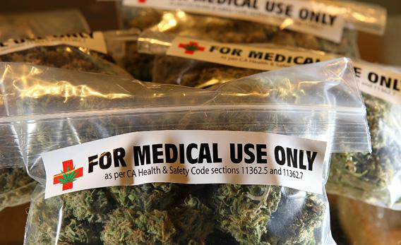 One-ounce bags of medicinal marijuana are displayed at the Berkeley Patients Group in 2010 in Berkeley, California.
