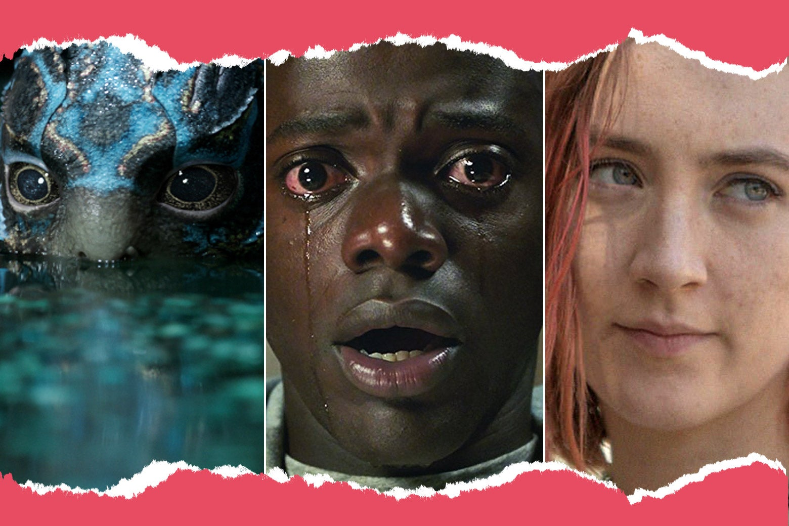 Stills from The Shape of Water, Get Out, and Ladybird.