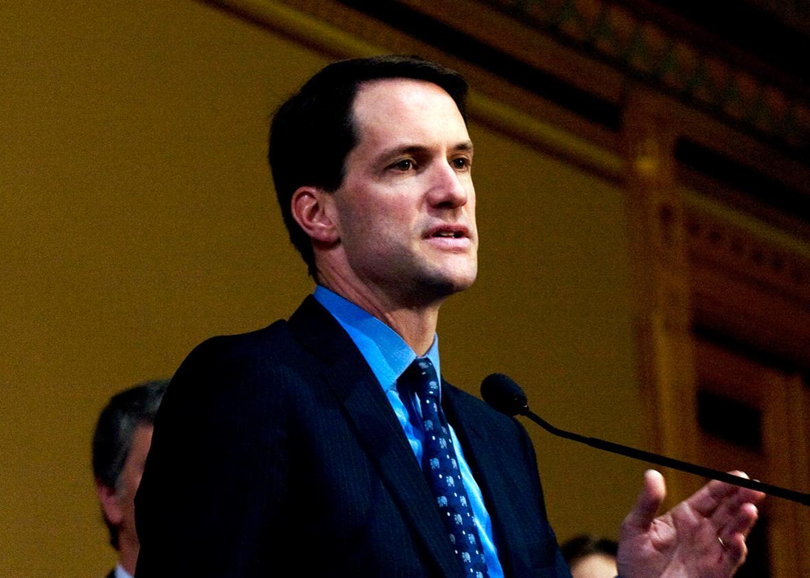 U.S. Rep.-elect Jim Himes speaks at a press conference held in the Old Judiciary Room of the Connecticut State Capitol November 5, 2008 in Hartford, Connecticut.