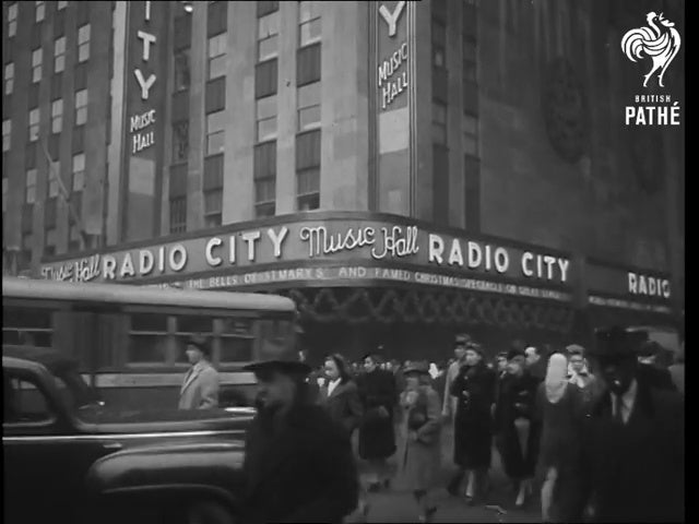 An exterior shot of Radio City Music Hall from the 1940s.