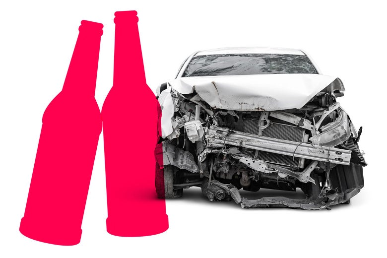 A graphic of two beer bottles, and a severely damaged car.