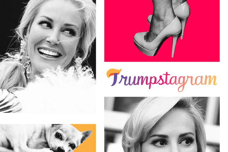 Louise Linton portraits in a grid resembling Instagram App with Trumpstagram logo that looks like the instagram one only with Trump hair as the top of the capital T.