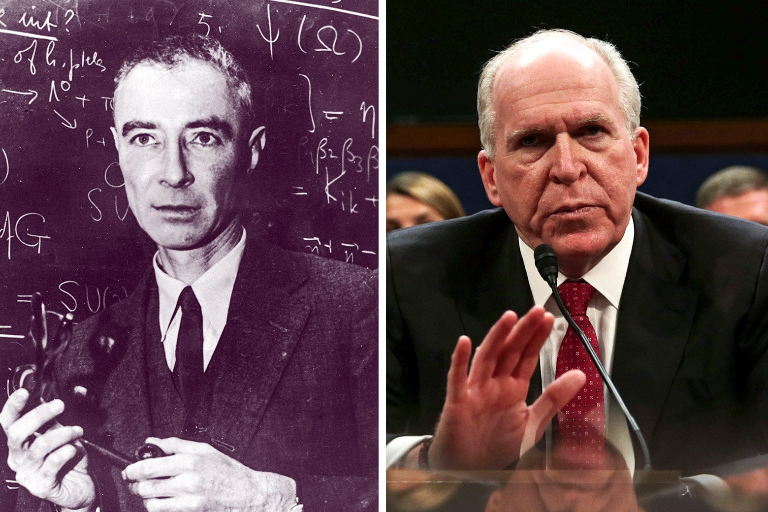 Robert Oppenheimer in front of a chalkboard, and John Brennan testifying before Congress.