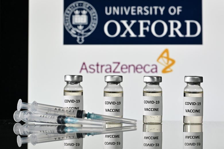 "Vials labeled ""COVID-19 VACCINE"" next to syringes, with the University of Oxford and AstraZeneca logos in the background"