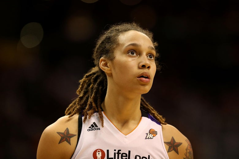 Brittney Griner of the Phoenix Mercury looks on during Game Two of the WNBA semifinal playoffs against the Los Angeles Sparks.