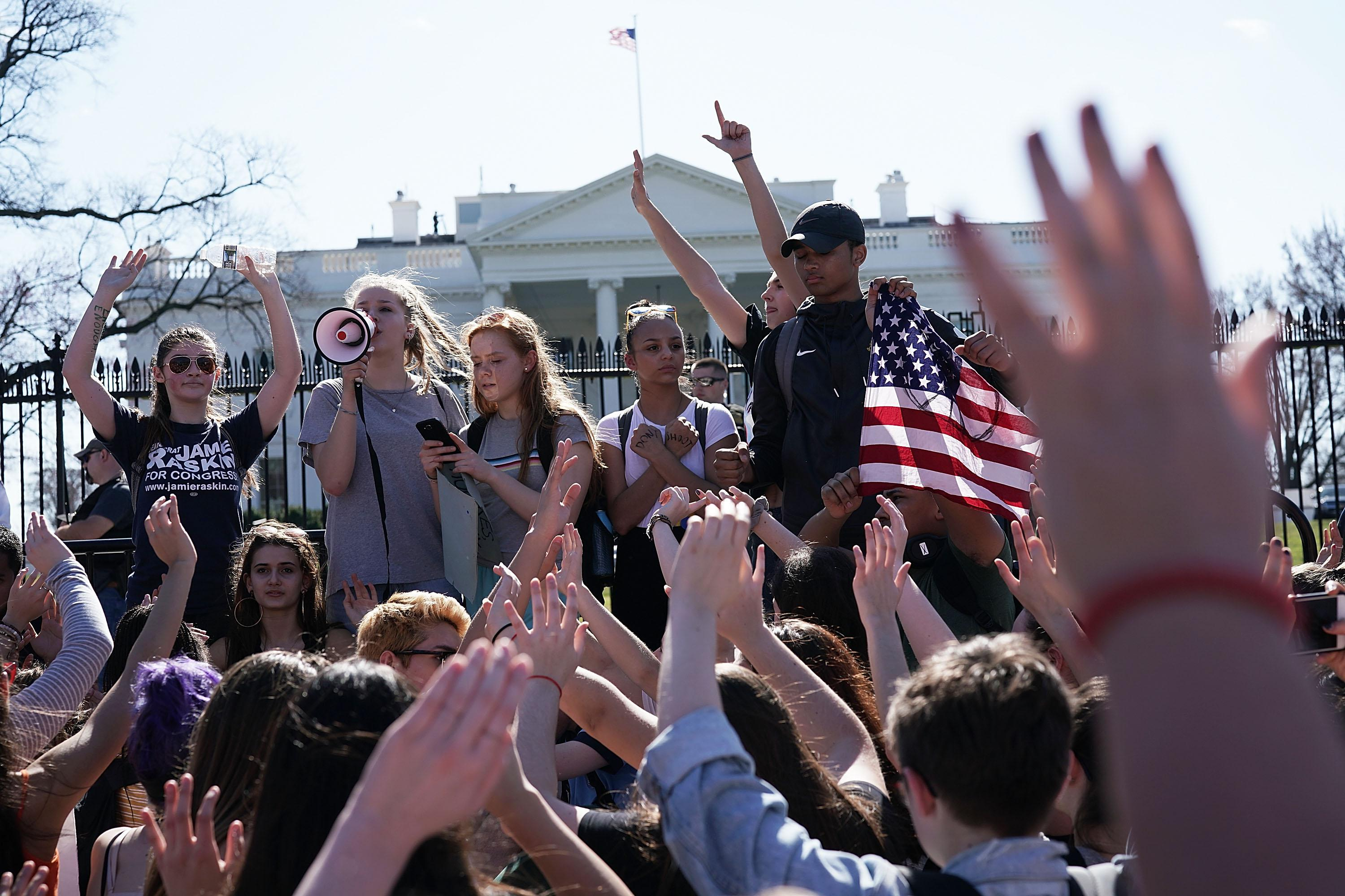 Students protest gun violence outside the White House.