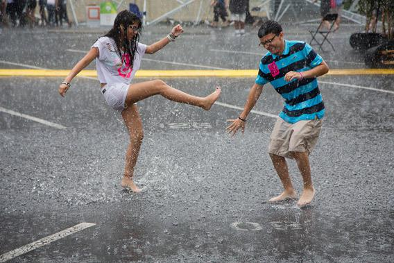 Playing in Rain in Charlotte