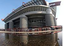 San Siro stadium with only a few fans         Click image to expand.