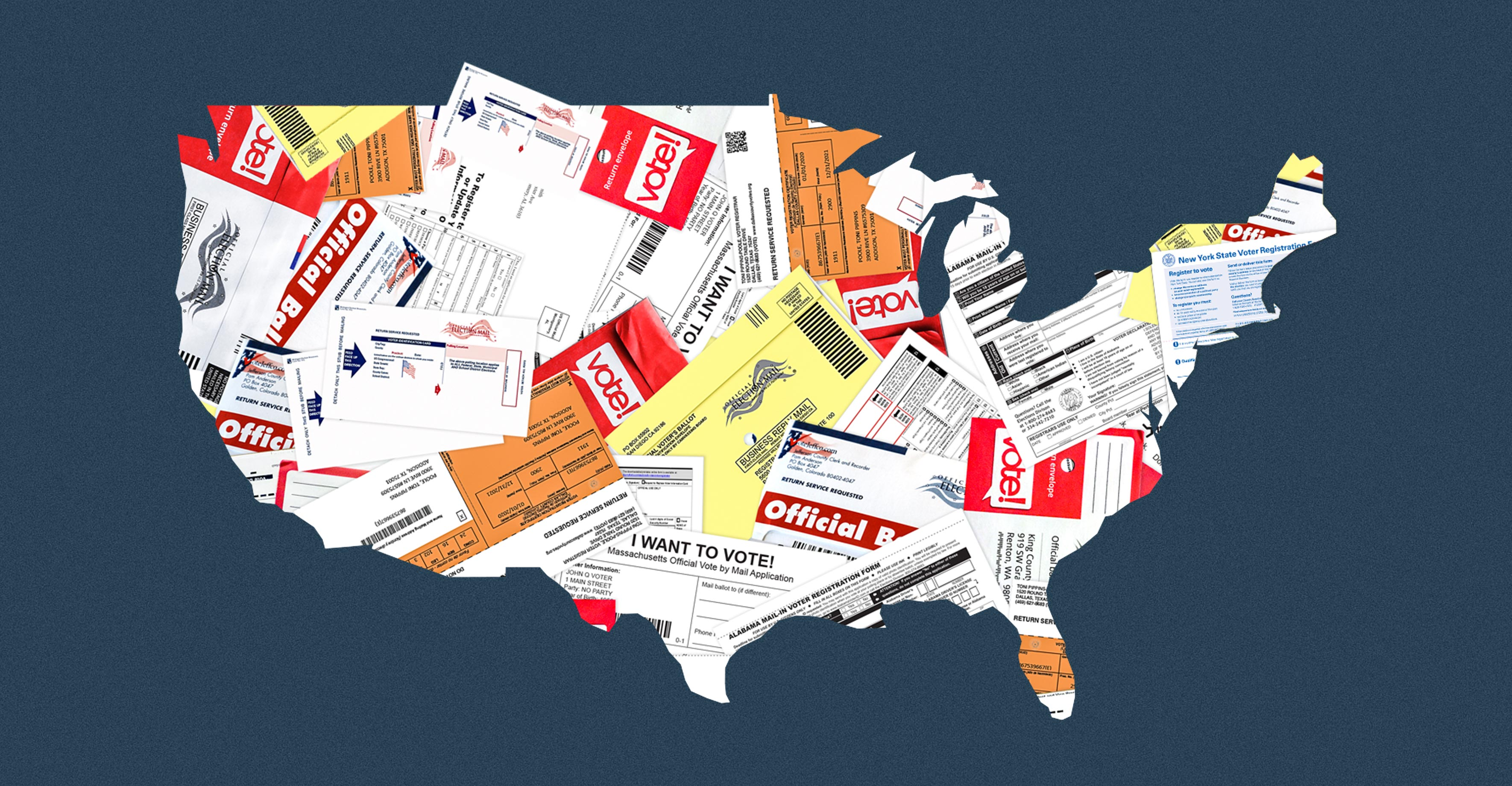 An outline of the U.S.A. covered in ballots and ballot applications.
