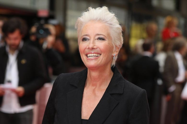 Emma Thompson on a red carpet.