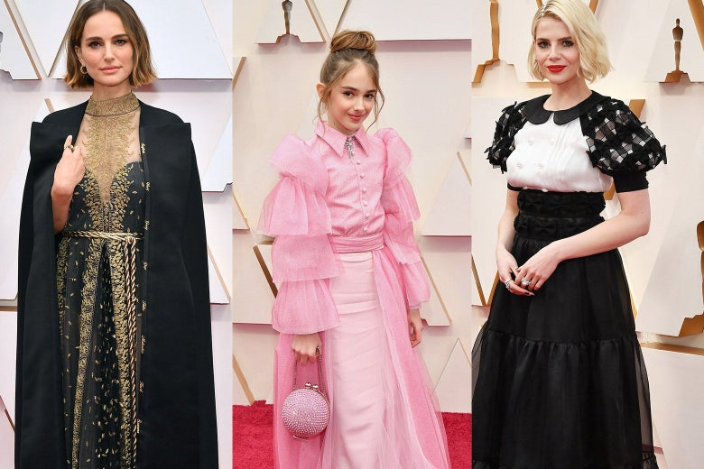 Collage of Natalie Portman, Julia Butters, and Lucy Boynton on the red carpet.