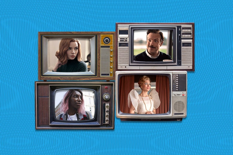 Four box TVs stacked two by two show scenes from The Queen's Gambit, Ted Lasso, Mrs. America, and I May Destroy You.