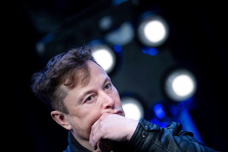 Elon Musk listens to a question during the Satellite 2020 at the Washington Convention CenterMarch 9, 2020, in Washington, D.C.