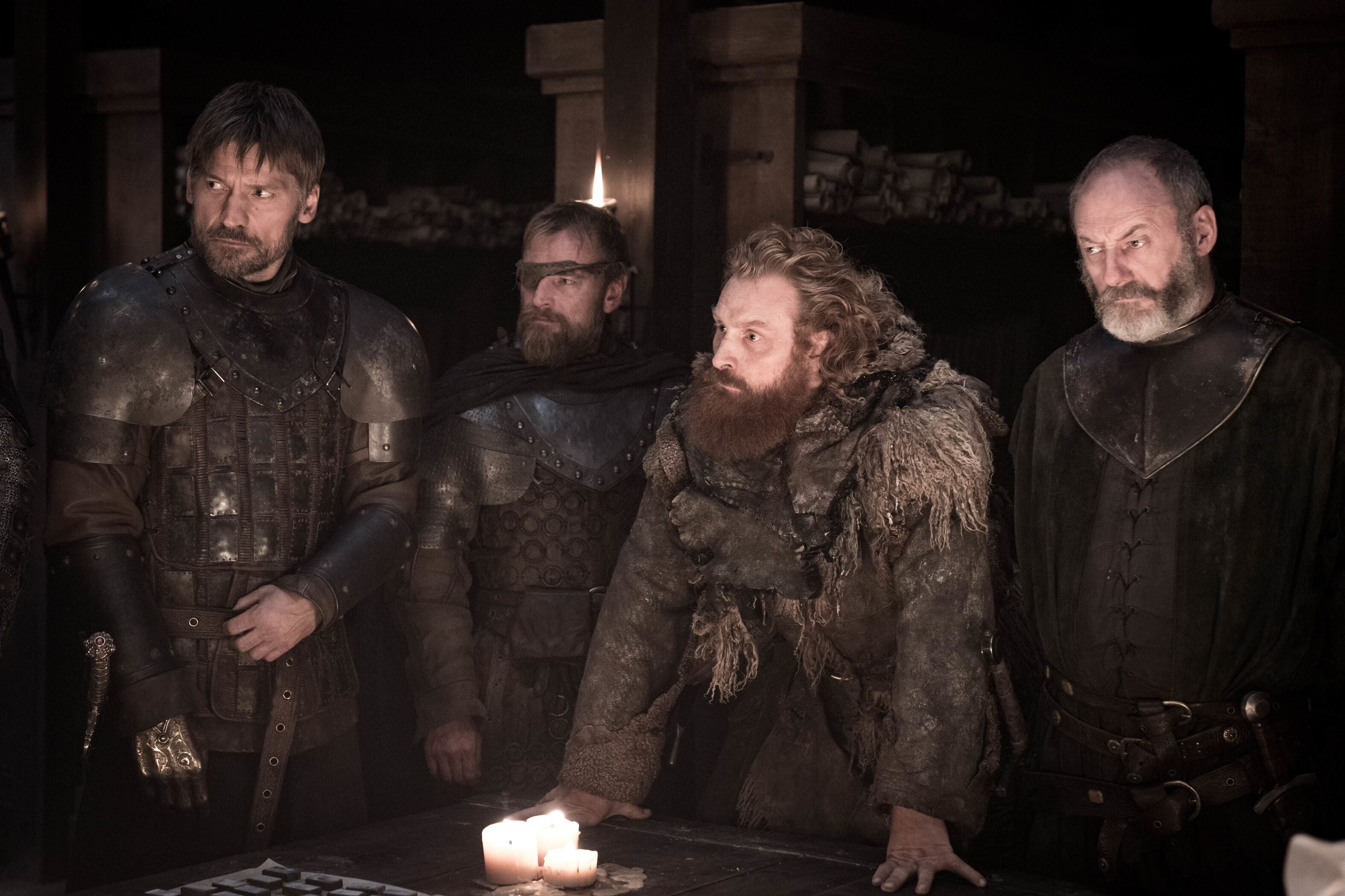 Jaime Lannister, Berric Dondarion, Tormund Giantsbane, and Ser Jorah gather at Winterfell