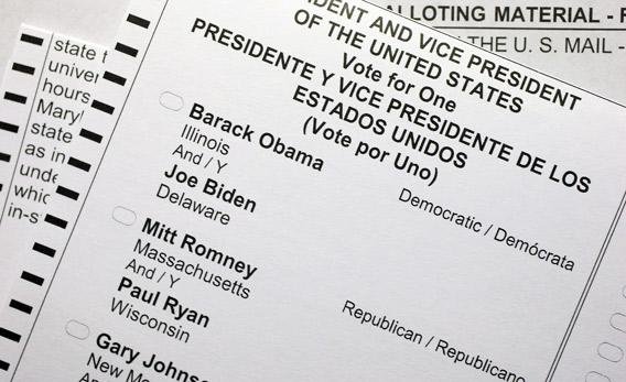 A U.S. citizen's 2012 United States presidential election absentee ballot shows the names of candidates Barack Obama and Mitt Romney.